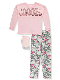 Girls' Snooze 3-Piece Pajamas by Sleep On It in Pink/multi, Sizes 7-16