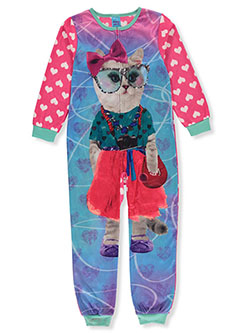 Girls' Glitter Cat 1-Piece Pajama Suit by Sleep On It in Multi