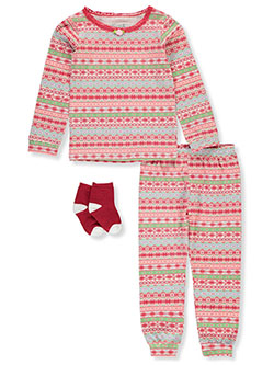 Holiday Fair Isle 3-Piece Pajamas by Max & Olivia in Multi, Girls Fashion