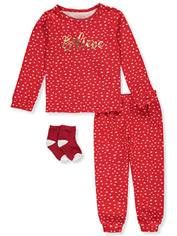 Girls' Believe 3-Piece Pajamas by Max & Olivia in Multi, Girls Fashion