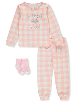 Snuggle Is Real 3-Piece Pajamas by Max & Olivia in Pink, Girls Fashion