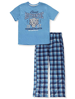 Boys' Tiger Warrior 2-Piece Pajamas by Sleep On It in blue/multi and navy/multi, Boys Fashion