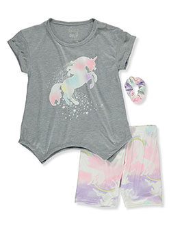 3-Piece Unicorn Sleep Set by Sleep On It in gray multi and lime/blue