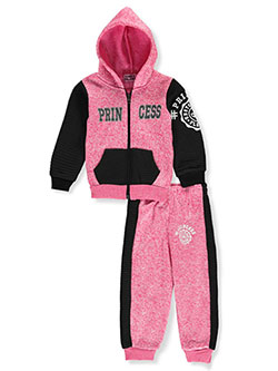 Moto-Paneled Princess 2-Piece Sweatsuit Pants Set by Coney Island in fuchsia/black and pink/charcoal gray