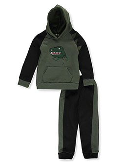 Boys' T-Rex 2-Piece Sweatsuit Outfit by Coney Island in black multi and navy/multi