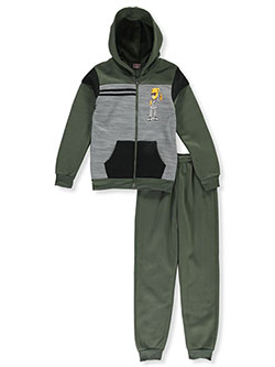Boys' Bear 2-Piece Sweatsuit Outfit by Victory League in green/multi and wine - $24.00