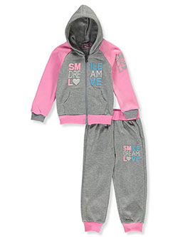 Smile 2-Piece Sweatsuit Outfit by Coney Island in pink/multi and wine