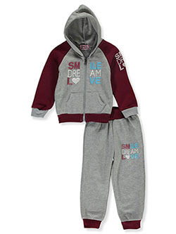 Smile 2-Piece Sweatsuit Outfit by Coney Island in Wine