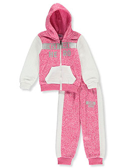 Hero 2-Piece Sweatsuit Outfit by Coney Island in gray multi and pink/multi