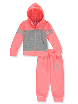 Squad Goals 2-Piece Sweatsuit Outfit by Coney Island in neon pink multi and pink/multi