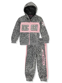 Unicorn 2-Piece Sweatsuit Outfit by Coney Island in charcoal and fuchsia/multi