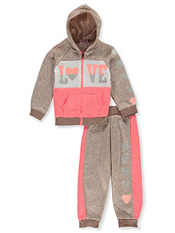 Girls' Love 2-Piece Sweatsuit Outfit by Coney Island in coral/multi and pink/multi