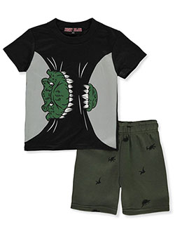Dinosaur 2-Piece Shorts Set Outfit by Coney Island in black multi, gray multi and red/multi