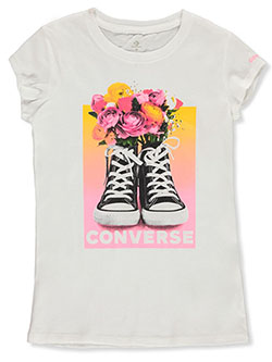 Girls' Flower Chucks T-Shirt by Converse in White - T-Shirts