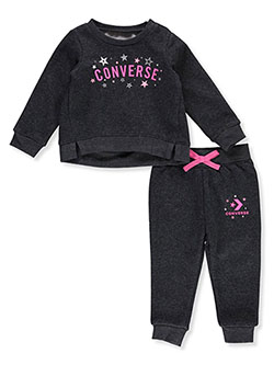 Star Graphic 2-Piece Sweatsuit Outfit by Converse in Black heather