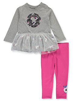 Unicorn Tutu 2-Piece Leggings Set Outfit by Converse in Gray