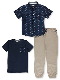 Anchor Print 3-Piece Joggers Set Outfit by Original Penguin in Khaki