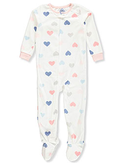 Girls' 1-Piece Footed Pajamas by Carter's in White/multi