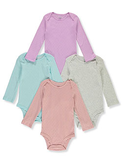 Baby Girls' Solid 4-Pack L/S Bodysuits by Carter's in Multi
