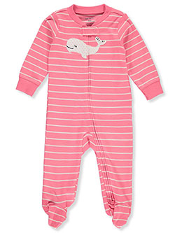 Carter's Girls' Striped Whale Footed Coveralls by Carters in Pink, Infants