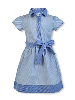Girls' Belted Stripe Dress by Carter's in Blue, Girls Fashion