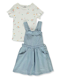 Girls' 2-Piece Chambray Jumper & Top Set by Carter's in Blue, Girls Fashion