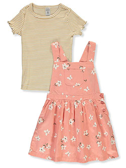 Girls' 2-Piece Twill Jumper & Top Set by Carter's in Coral, Girls Fashion