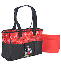 "Mickey Mouse ""Phrase Print"" Diaper Tote Bag with Changing Pad - CookiesKids.com"