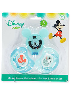 Mickey Mouse 3-Piece Orthodontic Pacifier & Holder Set by Disney in Blue/multi