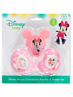 Minnie Mouse 3-Piece Orthodontic Pacifier & Holder Set by Disney in Pink/multi, Infants