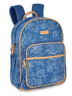 Printed Chambray-Look Backpack Diaper Bag with Changing Pad by Cherokee in Blue/multi