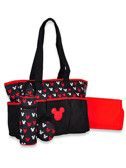 Mickey Mouse Logo Panel 4-Piece Diaper Bag by Disney in Black, Infants