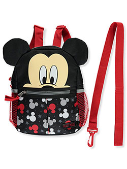 "Mickey Mouse Logo Stars 10"" Harness Backpack by Disney in Red, Infants"