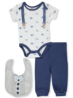 Dino Suspenders 3-Piece Layette Set by Little Beginnings in Blue