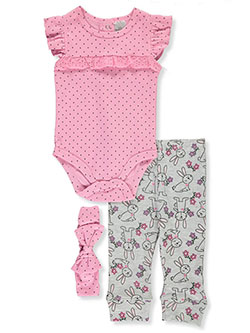 Bunny 3-Piece Layette Set by Little Beginnings in Pink