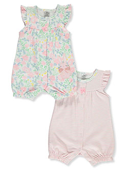 Baby Girls' 2-Pack Rompers by Little Beginnings in Pink/multi - $9.99