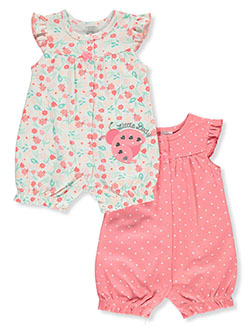 Baby Girls' 2-Pack Rompers by Little Beginnings in Coral/multi - $21.00
