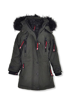 Girls' Insulated Parka by Canada Weather Gear in blush/natural and olive/black