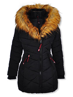 Insulated Parka with Faux Fur Collar by Canada Weather Gear in black, dusty rose and red