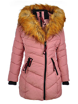 Insulated Parka with Faux Fur Collar by Canada Weather Gear in dusty rose and red