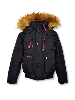 Snap Pocket Insulated Parka by Canada Weather Gear in black and charcoal gray