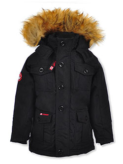 Button Placket Insulated Parka by Canada Weather Gear in black and navy