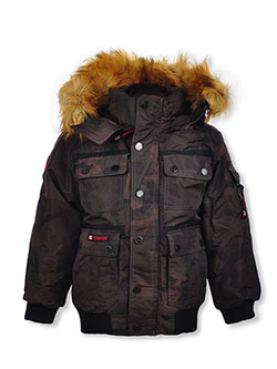Snap Placket Insulated Parka by Canada Weather Gear in black, camo and charcoal gray