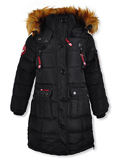 Square Baffle Insulated Parka by Canada Weather Gear in black, fuchsia and red