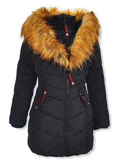 Insulated Parka with Faux Fur Collar by Canada Weather Gear in black and red