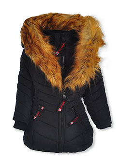 Insulated Parka with Faux Fur Collar by Canada Weather Gear in black and dusty rose