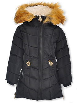 Girls' Angled Baffle Insulated Parka by DKNY in black, fuchsia and red