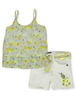 Floral 2-Piece Shorts Set Outfit by Delia's Girl in fuchsia/multi and yellow multi
