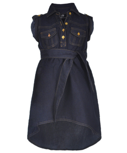 "Dollhouse Little Girls' Toddler ""Chambray Tie"" Hi-Low Dress (Sizes 2T – 4T) - CookiesKids.com"