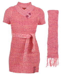 "Dollhouse Big Girls' ""Buttoned V-Neck"" Sweater Dress with Scarf (Sizes 7 – 16) - CookiesKids.com"